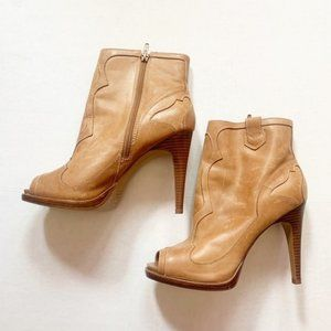 BCBGeneration Brown Leather Peep Toe Booties